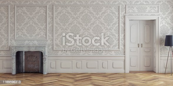 Empty antique interior with copy space and door on the right. White pattern wall in the background and hardwood floor with fireplace on the left. Vintage effect applied. 3D rendered image.
