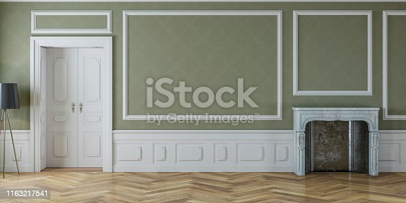 istock Empty antique interior with fireplace 1163217541