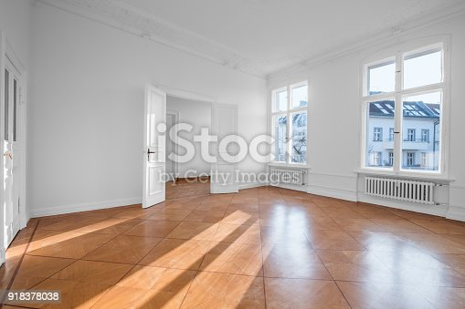 empty apartment room flat for rent with wooden floor stock photo