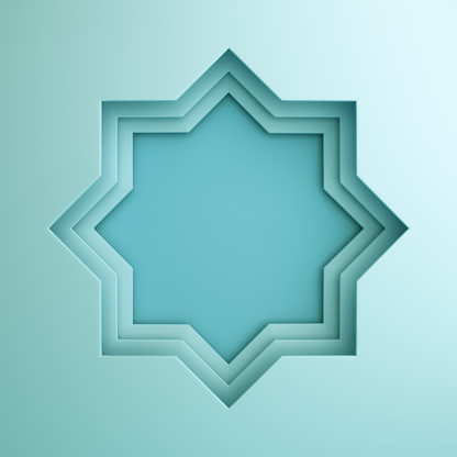 istock Empty arabic paper cut window on blue pastel background. Design creative concept of islamic celebration day ramadan kareem or eid al fitr adha. 1162068191