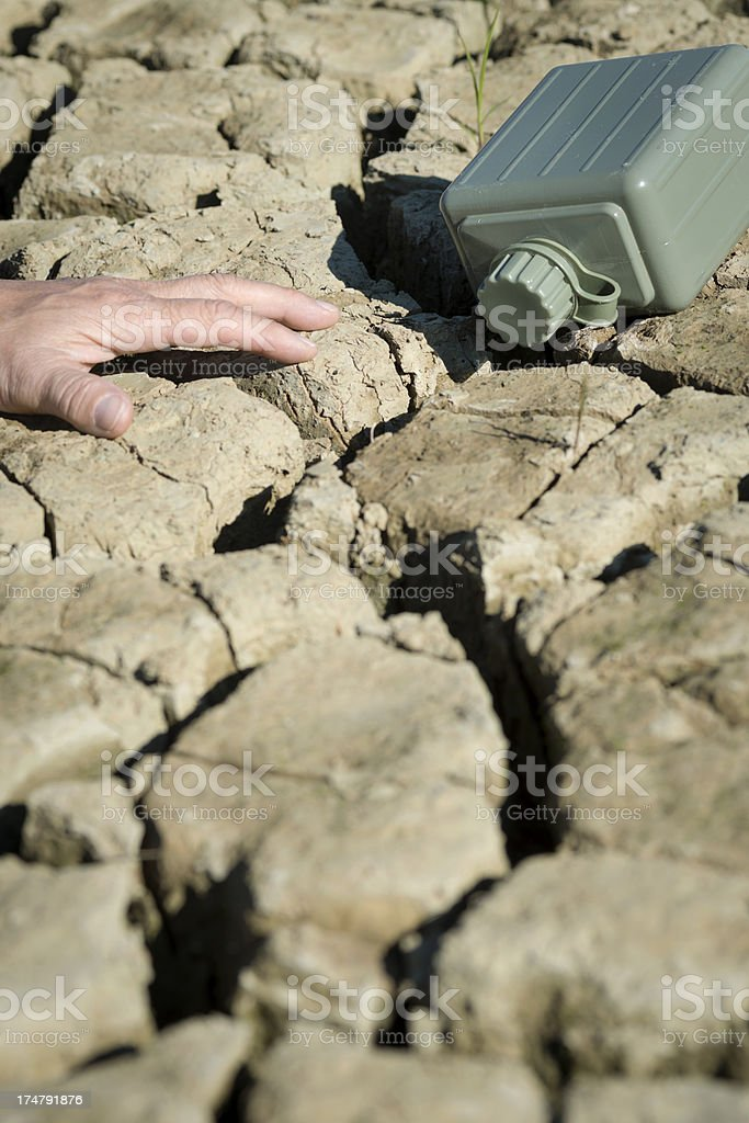 Empty Army Water Container and Hand on Dry Earth royalty-free stock photo