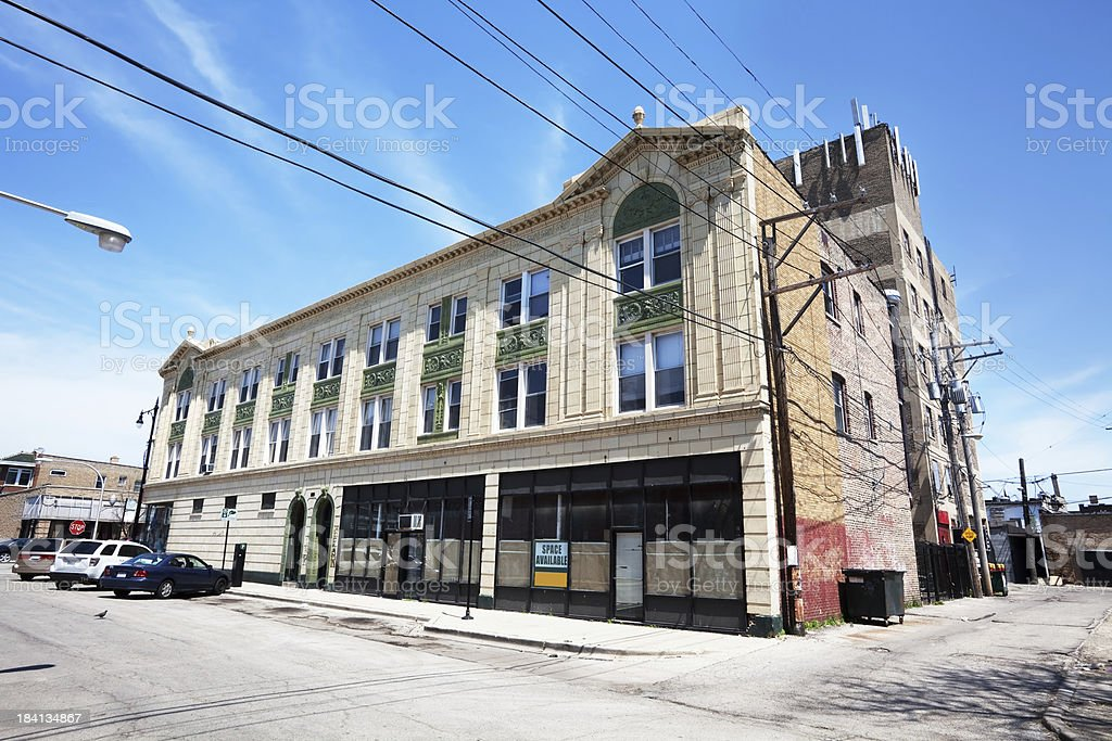Empty Art Deco Commercial Building in Chicago royalty-free stock photo