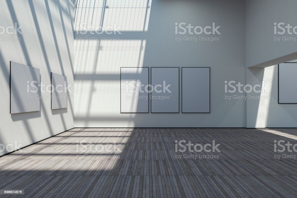 Empty art gallery stock photo