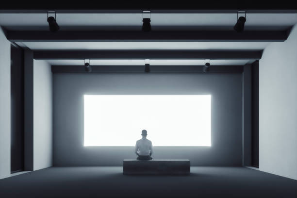 Empty art gallery with blank display stock photo