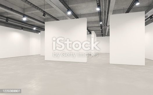 Large art gallery with empty walls illuminated by bright light, with rows of lighting equipment hanging from the ceiling.  Industrial architecture style. White partitioning walls and concrete ceiling. Museum space with no people, copy space. Digitally generated image.