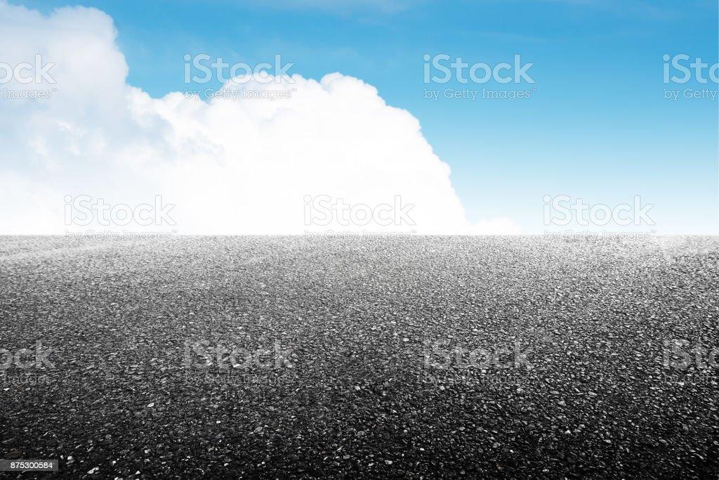 empty asphalt floor and beautiful sky stock photo