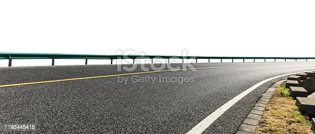 Empty asphalt road ground and white background,panoramic view.