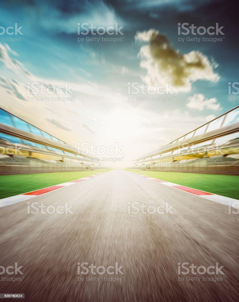 Empty asphalt international race track stock photo