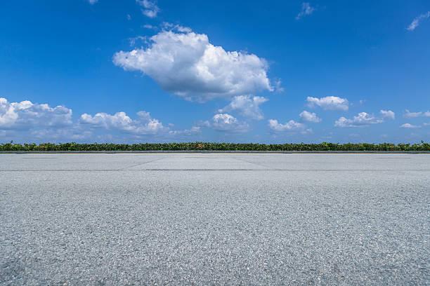 empty asphalt road against blue sky stock photo