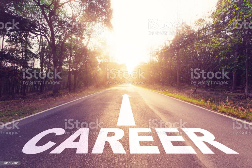 Empty asphalt road and Career concept. stock photo