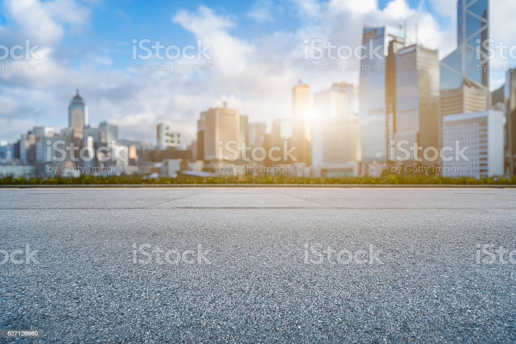 empty asphalt road and modern architecture stock photo