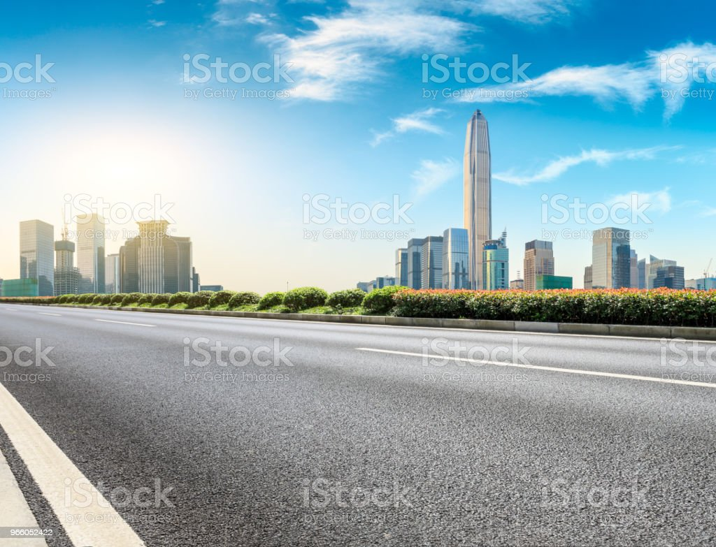 Empty asphalt road and modern city skyline in Shenzhen - Royalty-free Architecture Stock Photo