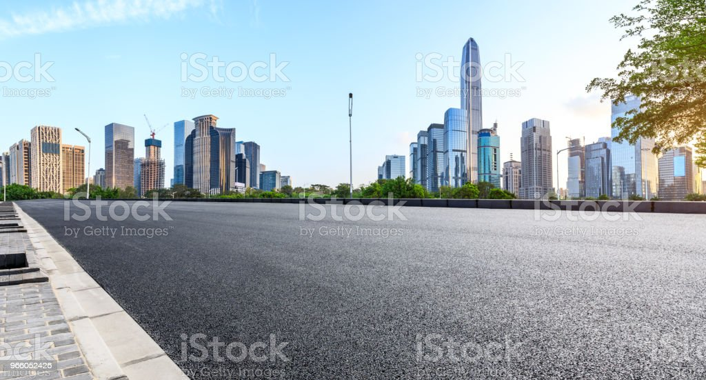 Empty asphalt road and modern city skyline panorama in Shenzhen - Royalty-free Architecture Stock Photo