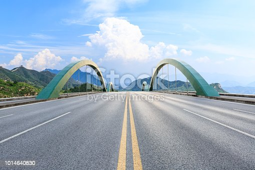 Empty asphalt road and mountain scenery under the blue sky