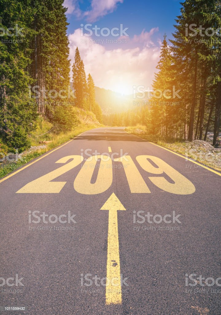 Time Road Id Roblox: Empty Asphalt Road And New Year 2019 Concept Driving On An