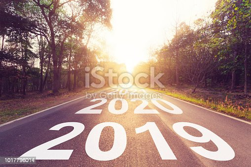 istock Empty asphalt road and New year 2019 concept. Driving on an empty road to Goals 2019. 1017796014