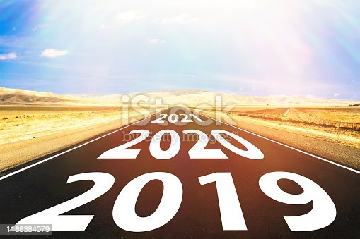 1065669434 istock photo Empty asphalt road and New year 2019 concept 1188384079
