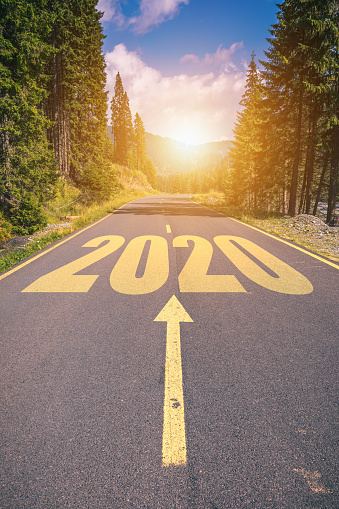 Empty Asphalt Road And New Year 2020 Concept Driving On An