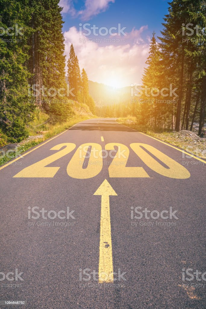 Empty Asphalt Road And New Year 2020 Concept Driving On An Empty Road In The Mountains To ...