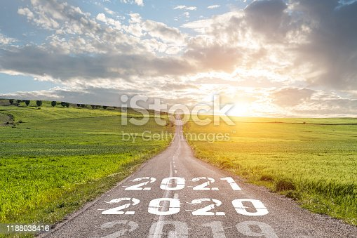 1065669434 istock photo Empty asphalt road and New year 2020 concept 1188038416