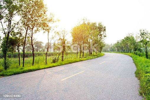 Empty asphalt road and tress