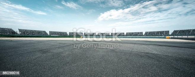 istock empty asphalt road in blue sky 880269016