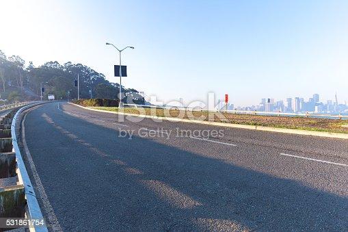860403416istockphoto empty asphalt road with cityscape and skyline of san franc 531861754