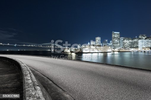 istock empty asphalt road with cityscape and skyline of san francisco 530832880