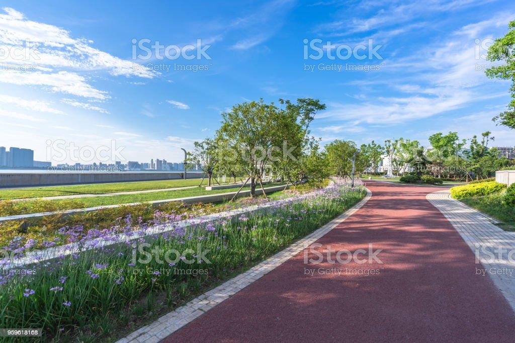 carretera vacía con edificio de oficinas moderno - Foto de stock de Acera libre de derechos