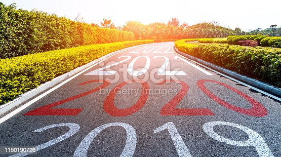 1150191246 istock photo Empty asphalt road with Number 2019, 2020, 2021 1150190726