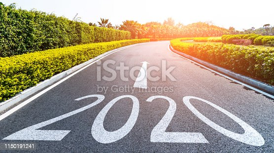 1150191246 istock photo Empty asphalt road with Number 2020 1150191241