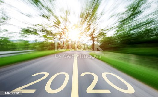 1150191246 istock photo Empty asphalt road with Number 2020 1150191351