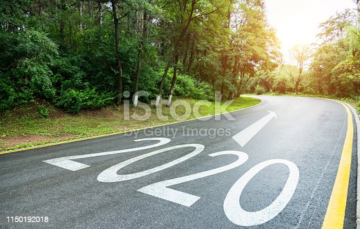 1150191246 istock photo Empty asphalt road with Number 2020 1150192018