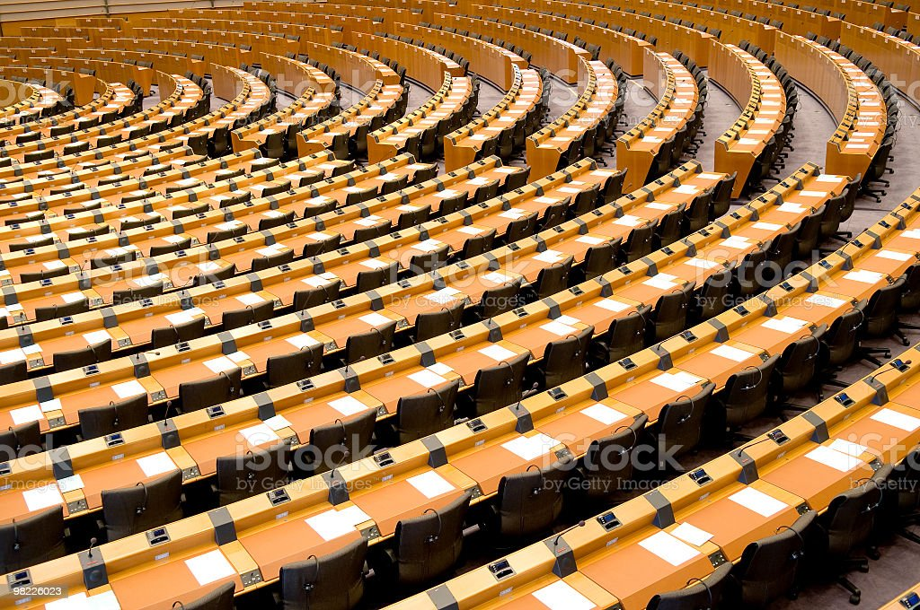 Empty Assembly Room Seat of European Parliament Brussels stock photo