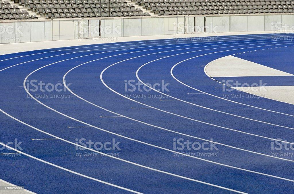 Empty athletics track stock photo