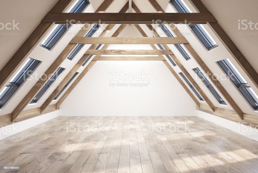 Empty attic room interior stock photo