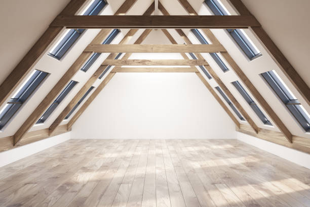 Empty attic room interior Empy attic room interior with white walls, a wooden floor, a pitched roof with many windows in it. 3d rendering copy space attic stock pictures, royalty-free photos & images