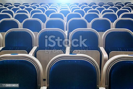 Empty auditorium of theater, cinema, conference, assembly or concert hall.