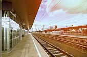 Empty Austria suburb railway station.