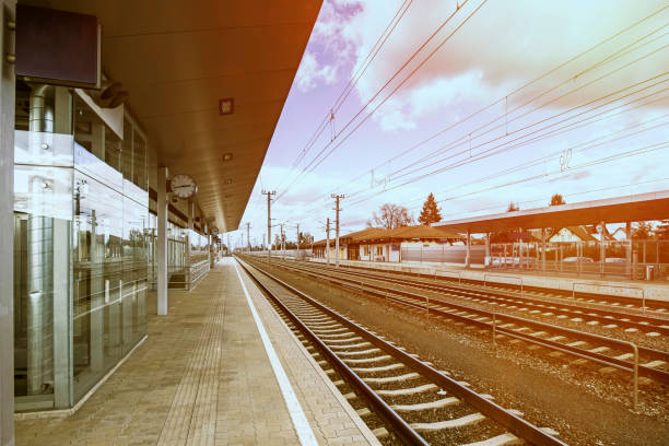 Empty Austria suburb railway station Empty Austria suburb railway station. railroad station stock pictures, royalty-free photos & images
