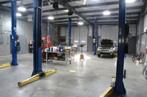 Empty Auto Repair Shop For Car Maintenance Stock Photo - Download Image Now