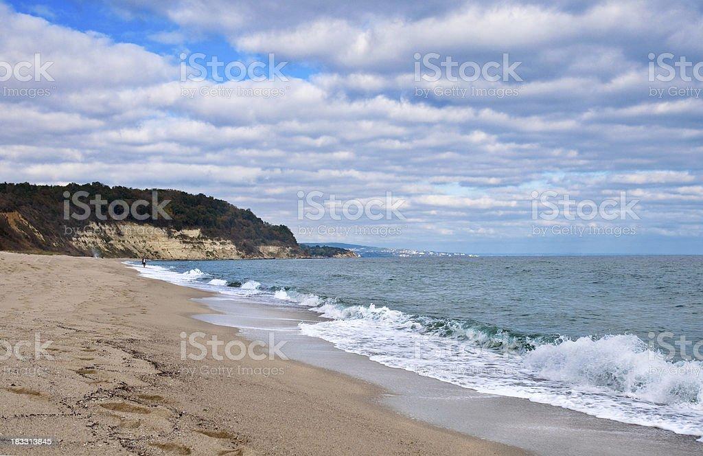Empty autumn beach royalty-free stock photo