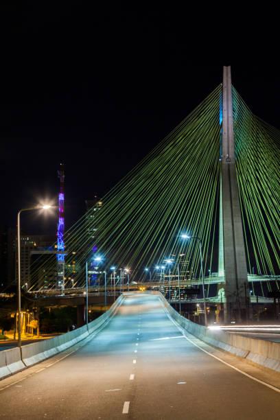 Empty avenue - cable stayed bridge in Sao Paulo - Brazil - at night stock photo