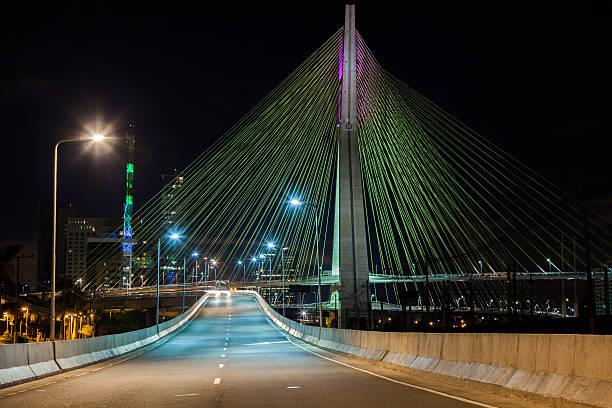 Empty avenue cable stayed bridge in Sao Paulo Brazil stock photo