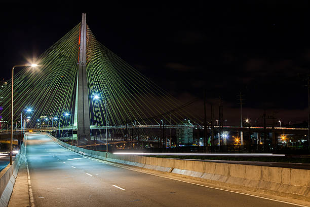 Empty avenue cable stayed bridge Sao Paulo Brazil at night stock photo