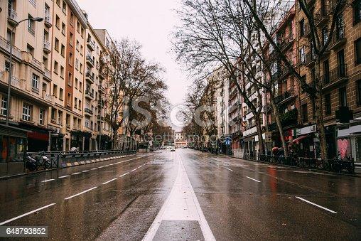 An empty avenue in Madrid, Spain