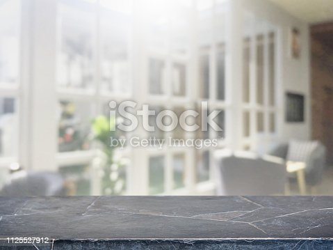 istock Empty background marble stone table top and blurred bokeh cafe and restaurent interior background with vintage filter - can used for display or montage your products. 1125527912