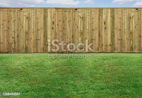 Empty backyard with green grass and wood fence