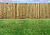 istock Empty backyard with green grass and wood fence 1208434347
