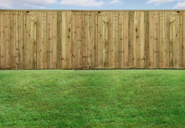 leerer hinterhof mit grünem gras und holzzaun - zaun stock-fotos und bilder
